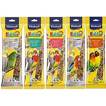 VITAKRAFT MIXED VARIETY 5 X TWIN PACK 10 STICKS COCKATIEL PARAKEET HANGING CAGE BIRD SEED TREATS