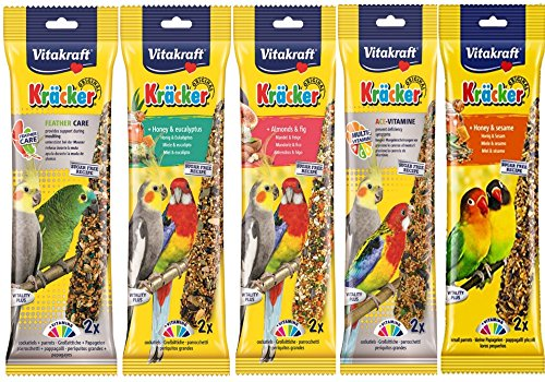 VITAKRAFT MIXED VARIETY 5 X TWIN PACK 10 STICKS COCKATIEL PARAKEET HANGING CAGE BIRD SEED TREATS