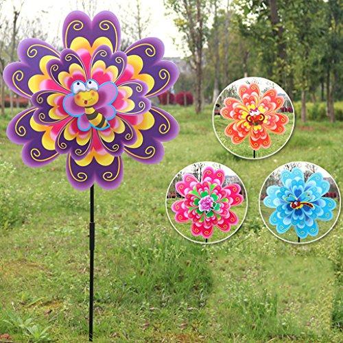 ECMQS DIY Doppelt Schicht Blume Windmühle Kinder Spielzeug, Garten Dekoration Ornament bunt Draußen Wind Spinner, 1 STÜCK Zufällige Farbe