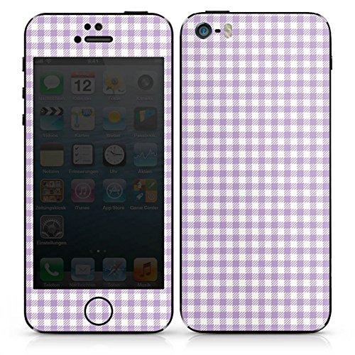 Apple iPhone SE Case Skin Sticker aus Vinyl-Folie Aufkleber Karomuster Flieder Lila DesignSkins® glänzend