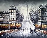 Rflkt Große Paris in der Abenddämmerung Straßenszene mit Eiffelturm. Kunst Öl auf Leinwand Gemälde - Hervorragende Qualität und Handwerkskunst, handgefertigte Wandkunst