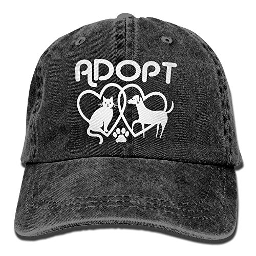 Vintage Fitted Cap (Men and Women Dog Cat Adopt Love Vintage Jeans Baseball Cap fitted caps)
