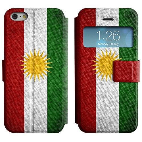 Graphic4You Vintage Uralt Flagge Von Usbekistan Usbekisch Design Leder Schützende Display-Klappe Brieftasche Hülle Case Tasche Schutzhülle für Apple iPhone 5 und 5S Kurdistan Kurdisch
