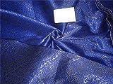 TheFabricFactory Brokat Stoff royal blau und Antik Metallic