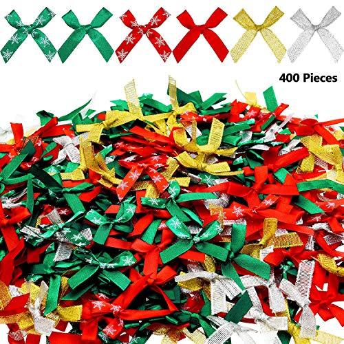 WILLBOND 400 Piezas Lazo Cinta Navidad Lazos Brillantes