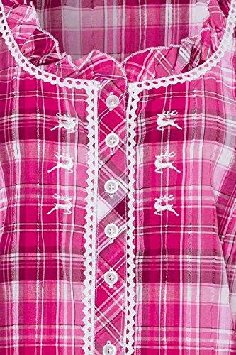 OS Trachten Damen Trachtenbluse Kurzarm Pink Karo Stretch 002617 - 2