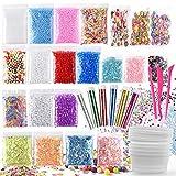 FEPITO Kit da 35 articoli per la preparazione fai da te di melma giocattolo, con perline schiacciate, palline di schiuma, glitter, coriandoli, contenitori, utensili per la melma