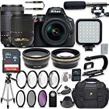 Nikon D5600 24.2 MP DSLR Camera Video Kit With AF-S 18-140mm VR Lens & AF-P 70-300mm ED VR Lens + LED Light + 32GB Memory + Filters + Macros + Deluxe Bag + Professional Accessories