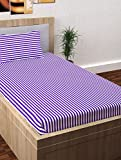 Story@Home Single Bedsheet for Single Bed with 1 Pillow Cover Combo Set - 100% Cotton - Spark Series, 208 TC, Stripes (Purple - White)