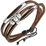 Zense - Bead ball triple wrap rope adjustable leather bracelet ZB0092 for men