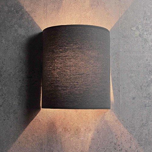 Wandleuchte Loft / halbrund / im modern Stil / grau / Stoffschirm / 1x E27 bis max. 60W 230V / Wandlampe innen kompakt / Beleuchtung Wohnzimmer Schlafzimmer