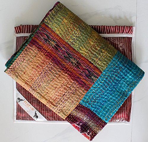 Vintage Soie Kantha Couvre-lit patchwork fait main Ralli Taille double Couverture avec housse Mangue Gifts