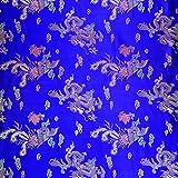 Brokatstoff, Farbe: Königsblau mit chinesischem Drachen,