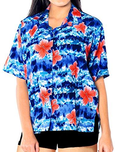 La Leela Kleidfrauen Knopf hawaiianischen Strand Tag Luau Partei Coverup Unten oben Kurzen �Rmeln Damen Blau