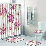 SLGJYY Gemalte Blumen, Badezimmer Duschvorhang, Bodenmatte, Toilettensitz, Vierteilig