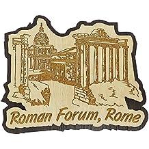 Printtoo Souvenir Gift Collectibles Roman Forum Roma Grabado iman de nevera de madera