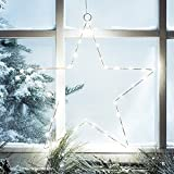 2er Set LED Stern Fensterbild Weihnachten Fensterdeko Timer Batteriebetrieb 35cm Lights4fun