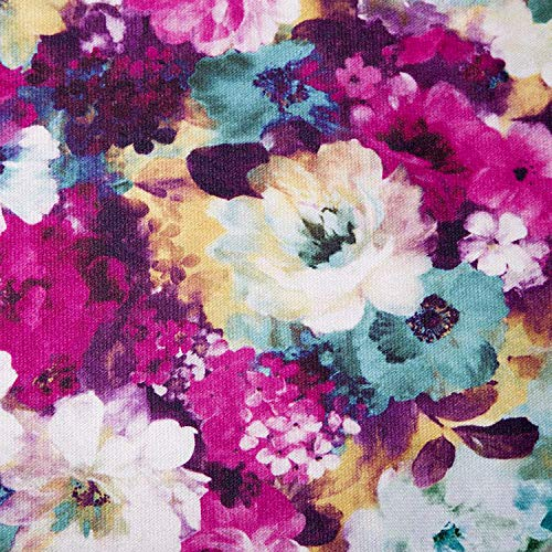 NOVELY® Passau PAAN | Weicher Chenille Möbelstoff mit Blumen-Print (01 Pink Gelb Blau) -