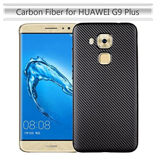 YHUISEN Huawei Nova Plus Case, Slim Carbon Fiber Gummi Soft TPU Hybrid Shockproof Case Cover für Huawei Nova Plus / G9 Plus ( Color : Rose Gold ) Black