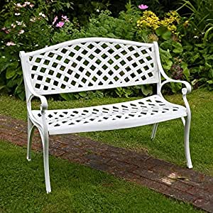 Banc de jardin jasmine en aluminium coloris blanc amazon - Banc de jardin blanc ...