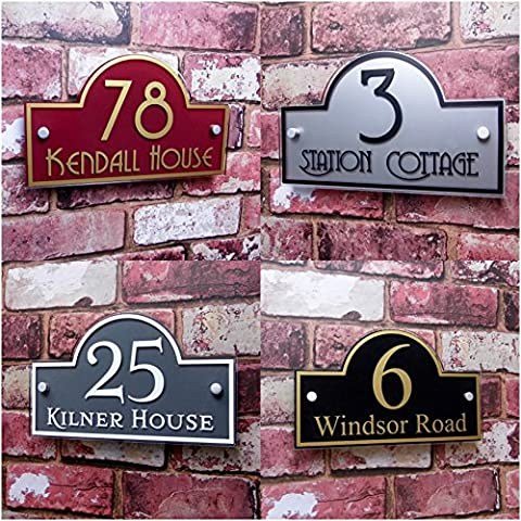 Premium Quality Personalised House Sign Door Number Street Address Plaque Modern 'Bridge' MADE TO ORDER Decorative