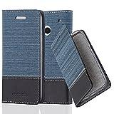 Cadorabo Hülle für HTC ONE M7 (1. Gen.) - Hülle in DUNKEL BLAU SCHWARZ – Handyhülle mit Standfunktion und Kartenfach im Stoff Design - Case Cover Schutzhülle Etui Tasche Book