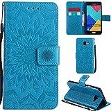 Ooboom® Samsung Galaxy A5 2016 Coque Motif Tournesol PU Cuir Flip Housse Étui Cover Case Wallet Pochette Support avec Porte-cartes pour Samsung Galaxy A5 2016 - Bleu