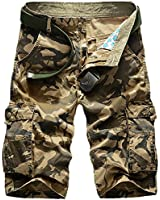 Panegy Adultes Combat Shorts pour Homme/Garçon Bermudas Treillis Militaire Cargo Armee Pantalon de Travail Multi Poches Coton avec Ceinture hasard en dispose comme cadeau Camouflage Vert Kaki Noir