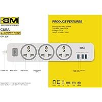 GM 3261 CUBA 4+1 Powerstrip with Master Switch, Indicator, Safety Shutter, 3 International Sockets & 3 USB port 2.4A