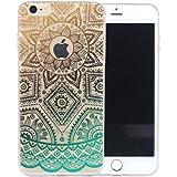 """iPhone 6transparente carcasa de TPU, UCMDA Ultra ligero, suave carcasa de Gel de cristal carcasa de absorción de golpes silicona protectora transparente carcasa de contorno para iPhone 66S 4,7""""–Color blanco tribal Mandala"""