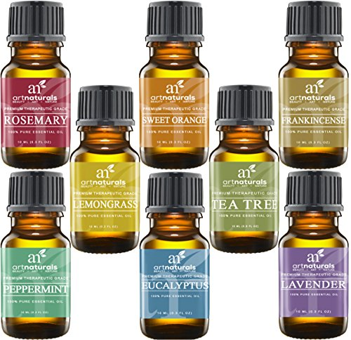 Art Naturals 8 Essential Oils-100% Pure-Peppermint, Tea Tree, Rosemary, Orange, Lemongrass & More