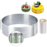 Cercle à Gâteaux Réglable avec Echelle Ø 16-30cm Cercle à Pâtisserie Extensible en Acier Inoxydable Moule Cadre Rond…