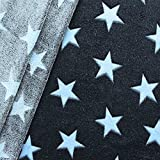 Wellness Fleece Stoff Sterne Meterware Dunkel-Blau