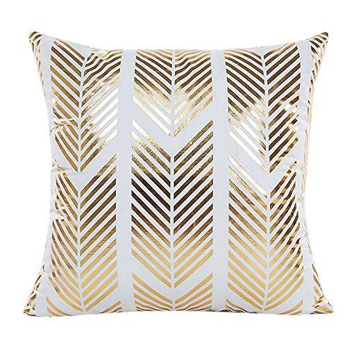 SHOBDW Kissen Dekorative Home Decor Sofa Taille Wurf Kissenbezug Case Set Dekokissen Deckt Geometrische Muster 45cmX45cm Goldfolie Drucken Künstliche Wollmantel mit Streifen...