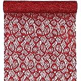 SANTEX 5086-7-28, Chemin de table Dentelle métallique, Rouge