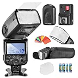 Neewer® MK910 i-TTL * Sincro Alta velocità * 1/8000s HSS LCD Display Speedlite kit flash Master/Slave per Nikon D3s D50 D70 D70s D80 D80s D200 D300 D300s D700 D3000 D3100 D5000 D5100 D7000 e tutte le altre fotocamere Nikon DSLR, include: (1) MK910 flash + (1) Mini flash universale con diffusore di rimbalzo + (1) fitri colorati in gel (1) Flash diffusore + (1) innesco flash Wireless 16 canali  + (4) LR batteria