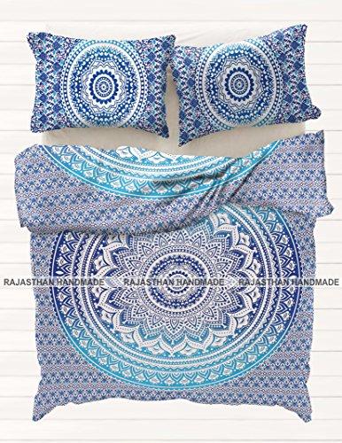 Rajasthani Handgefertigt Bettbezug Indischen Mandala Hippie Bohemian Doona King Größe Ethnic Betten Boho Kuscheldecke Cover Wende Bettbezug Tröster Set (Tröster Set Boho)