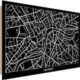 Feeby Cuadro Imagen XXL London Impresión de Arte Mapa de la Ciudad Negro 120x80 cm
