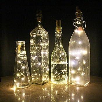 Evmu Set Of 6 Warm White Wine Bottle Cork Lights 59inch