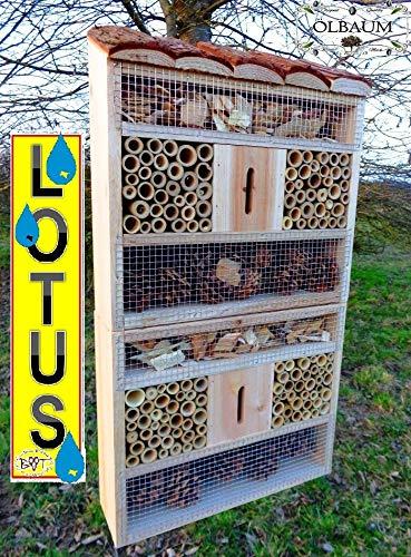 Batovi BTV insektenhotel, mit Naturdach + spezieller Lotus-Oberflächenbeschichtung, FDV-Holo-OS NEU Holz nistkästen Natur Marienkäfer Schmetterling Gartendeko