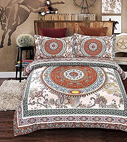 Bohemian Moroccan Duvet Cover Set, Elegant Floral Pattern Colorful Medallion Boho Style Quilt Sets + Two Pillow Cases Modern Duvet Sets (Double,Aura)