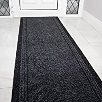 The Rug House Grey Black Rubber Backed Very Long Hallway Hall Runner Narrow Rugs Custom Length - Sold and Priced Per Foot