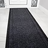 Grey Black Rubber Backed Very Long Hallway Hall Runner Narrow Rugs Custom Length - Sold and Priced Per Foot
