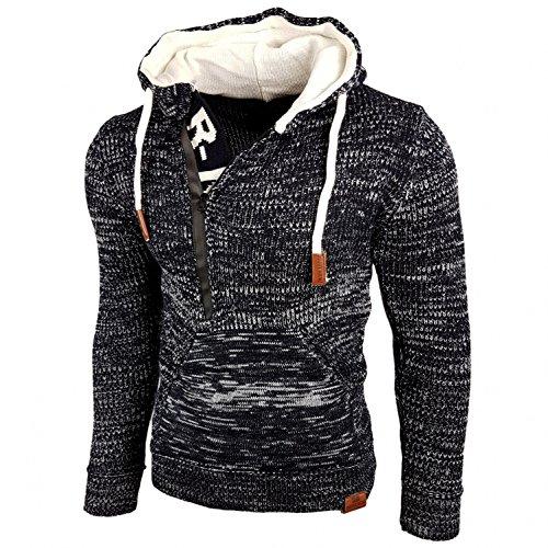 Rusty Neal Top Herren Winter Kapuzenpullover Pulli Sweatshirt Jacke RN-13277, Größe:M, Farbe:Blau/Ecru