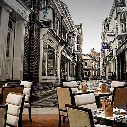 Zlywj Fototapete Europäischen Retro Nostalgie Stadt Street View Wandbild Casual Restaurant Bar Wohnzimmer Vliestapete 3D Tapete Tapetenkleister
