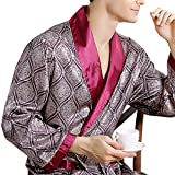 #2: Leoie Men's Comfortable 100% Silk Satin Robe Bathrobe Luxury Sleepwear Loungewear