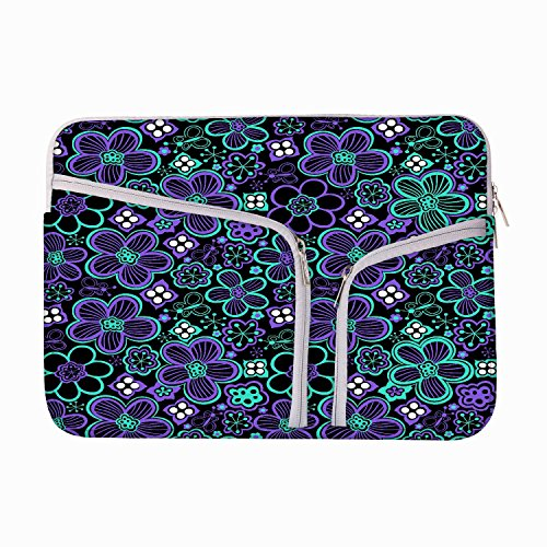 NEON FLORAL Schwarz Muster 13 bis 34,5 cm Schutzhülle Sleeve Tasche für MacBook Air 13/Pro 13 Retina/Oberfläche Book/iPad Pro & 33 cm Acer Dell HP Toshiba Saumsung Asus Chromebook Laptops (türkis) (Neon Macbook Air 13 Zoll Case)