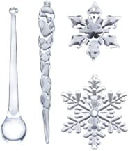 40PC Snowflake Icicle Ornament Crystal Christmas Tree Transparent Decoration