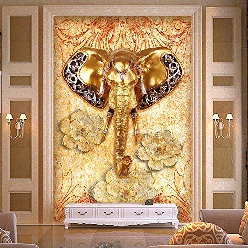 mznm Custom 3D Tapete Southeast asiatischen Stil Elefant Eingang Hintergrund Wand Dekoration Malerei Wohnzimmer Hall Wandbild Tapete 200x140cm