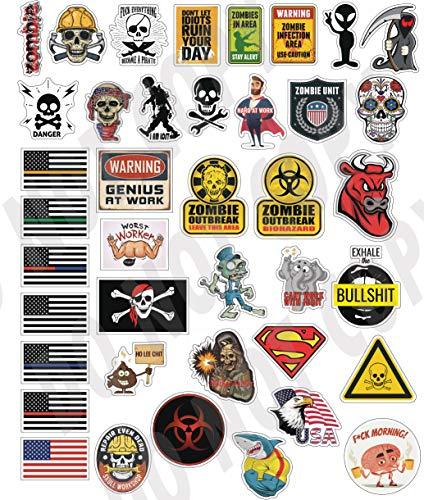 40 lustige Hard-Hut-Aufkleber, Werkzeugkiste, Hardhat-Aufkleber, Laptop-Sticker - 100% Kunststoff (Vinyl), lustige Aufkleber für Bau, Elektriker, Ölfeld, Feuerwehrmannschaft, Mechaniker, Skateboard,